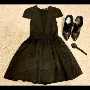 Topshop Matt black floral patterned mini dress